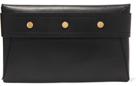 Iris and Ink Mabel Studded Textured-Leather Clutch