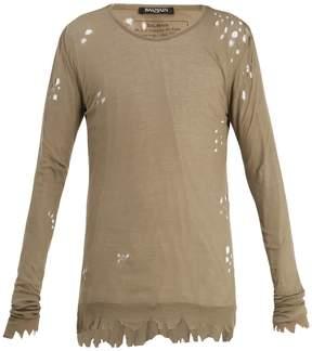 Balmain Distressed ribbed-knit jersey sweater