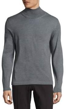 Pal Zileri Virgin Wool Ribbed Mockneck Sweater