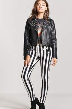 Forever 21 Striped Low-Rise Skinny Jeans