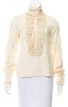 Anna Sui Silk Crochet-Accented Top