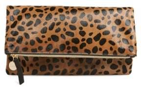 Clare V. Genuine Calf Hair Leopard Print Foldover Clutch - Beige
