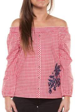 Dex Girl's Check Embroidered Top
