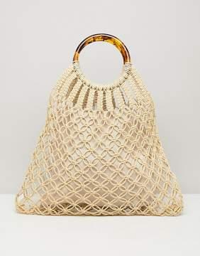 Asos DESIGN tort handle macrame shopper bag