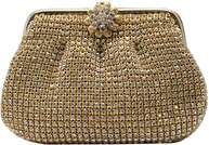 La Regale Mini Rhinestone Pouch Clutch With Floral Closure.