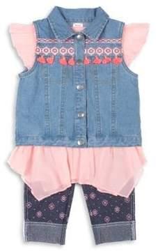 Little Lass Little Girl's Three-Piece Multicolored-Patch Denim Vest, Graphic Cotton Top and Geometric Leggings Set