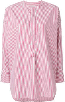 Alberto Biani striped collarless shirt