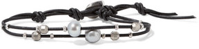 Chan Luu Leather, Silver And Pearl Bracelet - Black