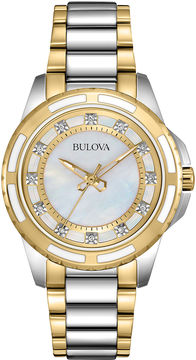 Bulova Womens Mother-of-Pearl Dial Diamond Accent Watch 98P140