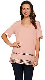 C. Wonder As Is Knit V-Neck Short Sleeve Top with Lace Trim
