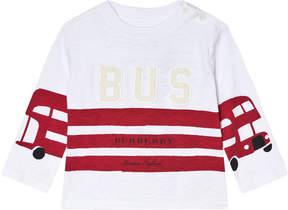 Burberry White and Red Stripes Mini Herbie Angled Seam T-Shirt