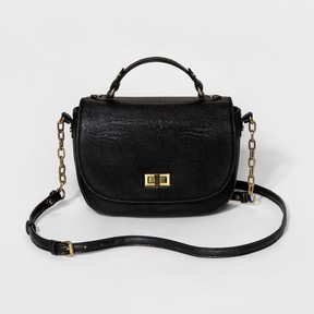 Merona Women's Saddle Crossbody Handbag - Merona Black