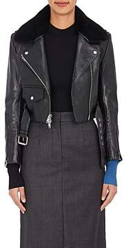 Calvin Klein Women's Shearling-Trimmed Crop Leather Jacket