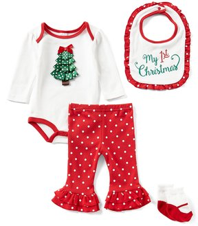 Starting Out Baby Girls Newborn-9 Months Christmas Tree 4-Piece Layette Set