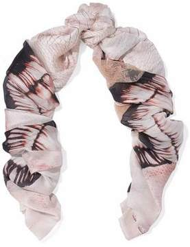 Roberto Cavalli Lace-Paneled Snake-Print Silk Scarf