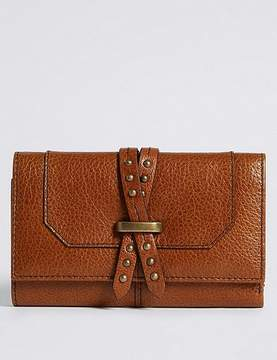 Marks and Spencer Leather Pin Detailed Purse with CardsafeTM