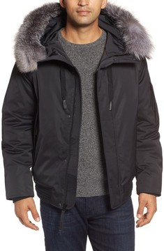 Andrew Marc Men's Bomber Jacket With Genuine Fox Fur Trim