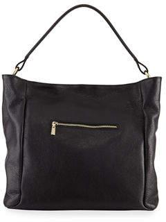Neiman Marcus Soft Pebbled Leather Hobo Bag