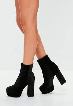 Missguided Black Velvet Platform Ankle Boots