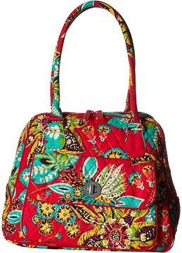 Vera Bradley Turnlock Satchel Satchel Handbags - CHARCOAL - STYLE