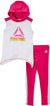 Reebok White & Pink Logo Hooded Tank & Pants - Toddler