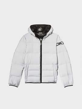 Donna Karan Donnakaran Reflective Hooded Logo Down Grey XL
