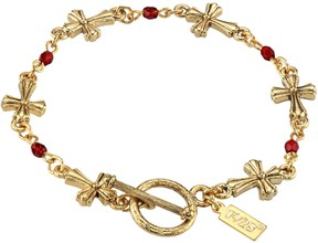 1928 10k Gold-Plated Red Bead Cross Link Toggle Bracelet