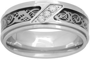 Dragon Optical Kohl's 1/10 Carat T.W. Diamond Stainless Steel & Carbon Fiber Celtic Band - Men