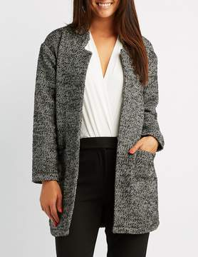 Charlotte Russe Tweed Open-Front Coat