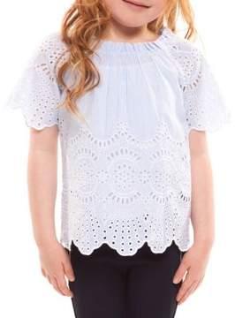 Dex Little Girl's Short-Sleeve Laser-Cut Cotton Top