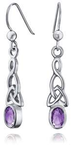 Celtic Bling Jewelry Amethyst Bezel Knots Sterling Silver Drop Earrings.