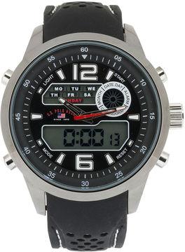 U.S. Polo Assn. USPA Mens Black Silicone Strap Analog/Digital Sport Watch