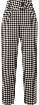 Petar Petrov Hang Gingham Wool-crepe Tapered Pants - Black