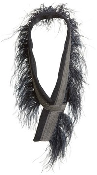 Fabiana Filippi Women's Genuine Ostrich Feather Trim Wool Blend Collar