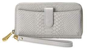 GiGi New York City Python-Embossed Leather Zip-Around Phone Wallet