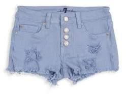 7 For All Mankind Little Girl's& Girl's Ripped Denim Short Shorts