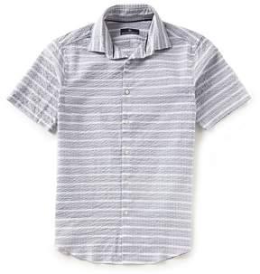 Hart Schaffner Marx Short-Sleeve Seersucker Horizontal Stripe Sportshirt