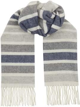 Eton Wool Striped Herringbone Scarf