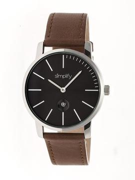 Simplify The 4700 SIM4703 Silver and Brown Leather Analog Watch