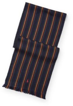 Ralph Lauren Stripe Repp Wool-Cotton Scarf Polo Black One Size