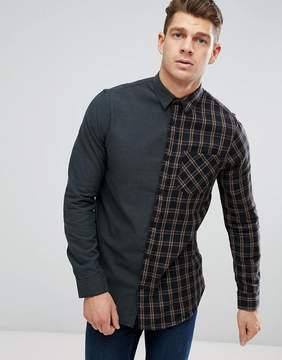 New Look Regular Fit Half Check Shirt In Green