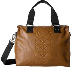 Orla Kiely Embossed Flower Stem Leather Zip Messenger Messenger Bags