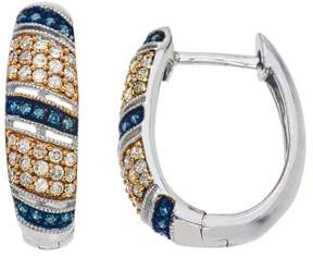 Armani Exchange Jewelry Natural Champagne and Blue Diamond Hoop Earrings in Sterling Silver