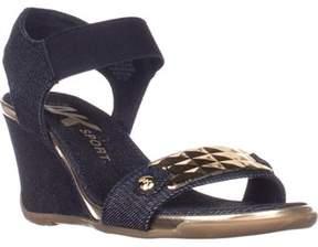 Anne Klein Ak Sport Latasha Comfort Wedge Sandals, Dark Blue/gold.