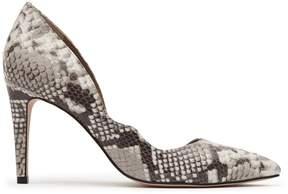Reiss Bardot Snake-Print Curve Detail Shoes