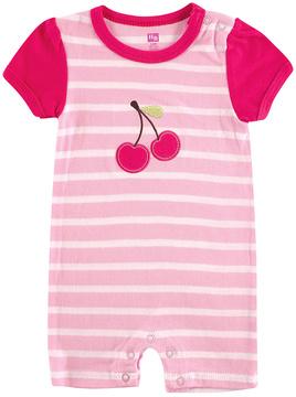 Hudson Baby Pink Stripe Cherry Romper - Infant