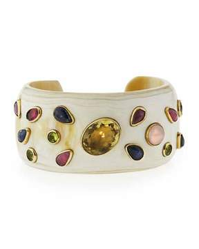 Ashley Pittman Ungana Mixed Stone Cuff Bracelet, Light Horn