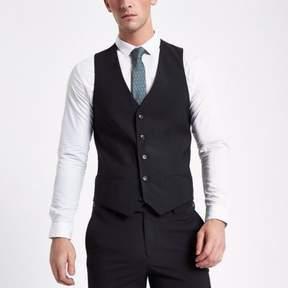 River Island Mens Black suit vest