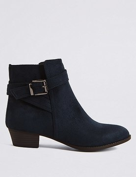 Marks and Spencer Wide Fit Block Heel Strap Ankle Boots