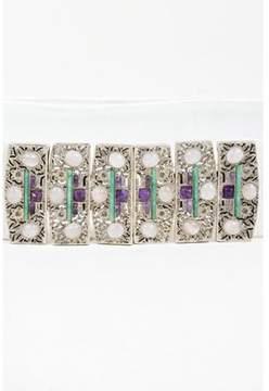 Judith Leiber Pre-owned Vintage White Embossed Leather Embellished Statement Buckle Belt.
